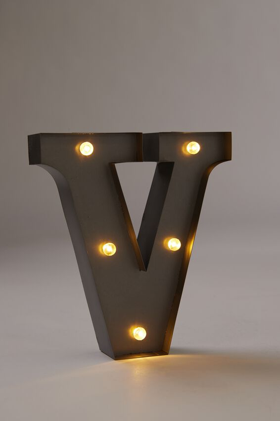 Midi Marquee Letter Lights 6.3inch, SILVER V