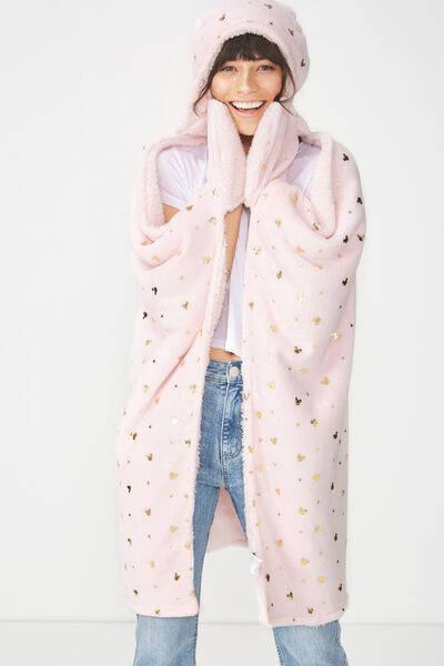 Novelty Hooded Blanket, LCN MICKEY PINK