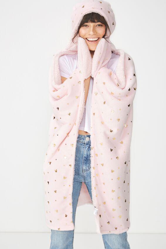 Mickey Disney Hooded Blanket, LCN MICKEY PINK