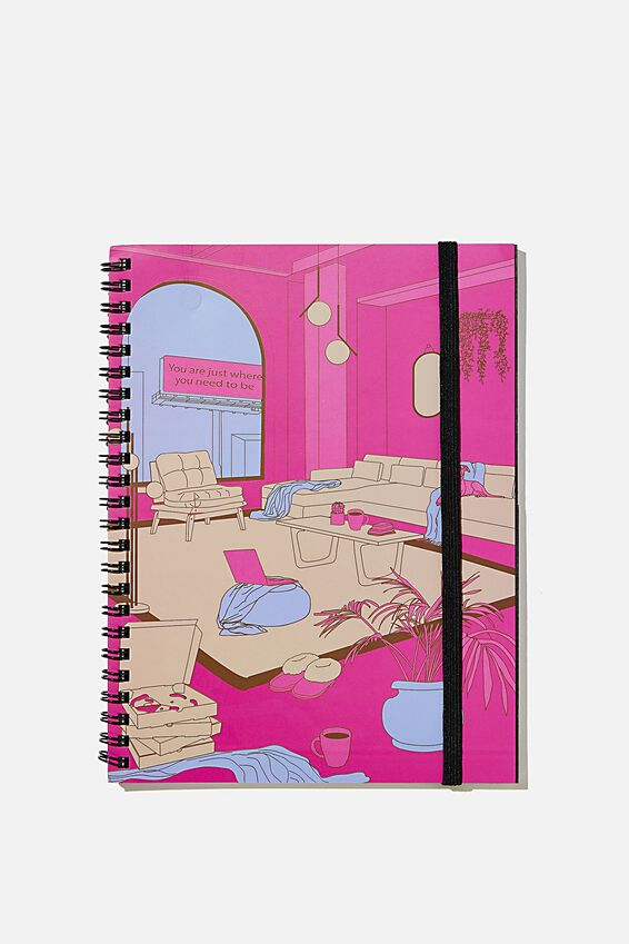 A5 Spinout Notebook Recycled, PINK ROOM ILLUSTRATION
