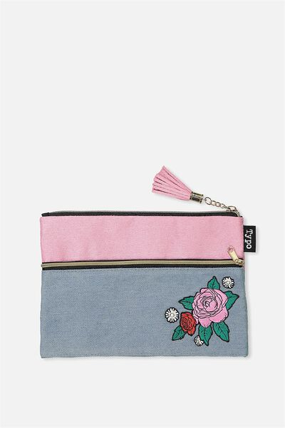 Premium Pencil Case, CHAMBRAY PINK ROSE