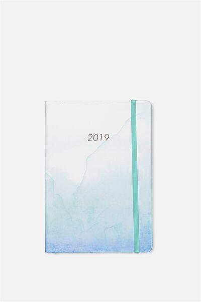 2019 A5 Weekly Buffalo Diary, BLUE WATERCOLOUR