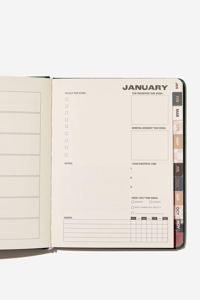 2022 Small Weekly Wellness Planner, DEEP GREEN REMINDER