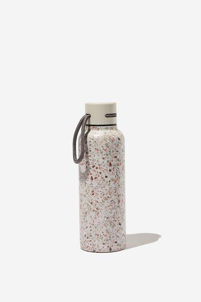 Boxed Metal Drink Bottle, STONE TERRAZZO