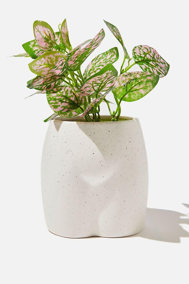 Midi Shaped Planter, WHITE SPECKLE BUTT!