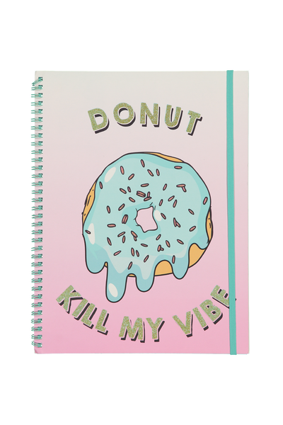 A4 Spinout Notebook - 120 Pages, DONUT KILL MY VIBE
