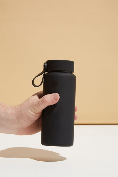 On The Move Metal Drink Bottle 350Ml, BLACK