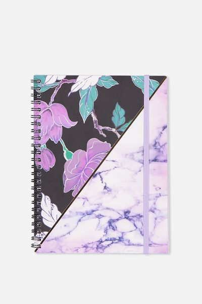 A5 Spinout Notebook - 120 Pages, LUSH FLORAL MARBLE