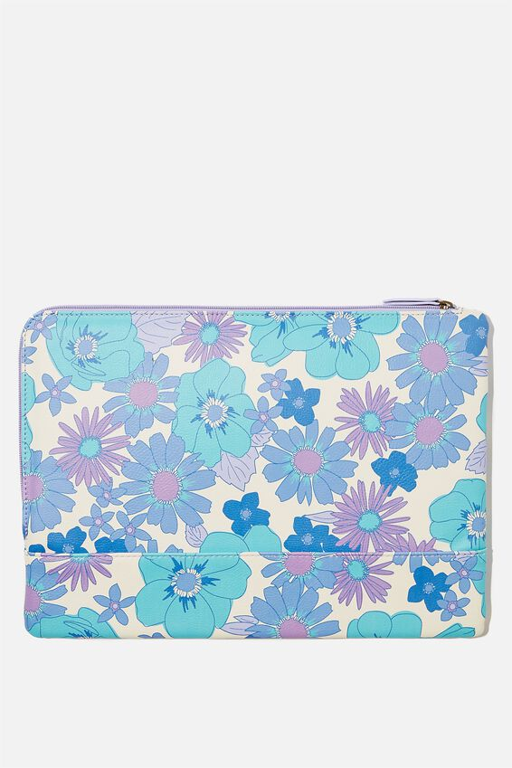 Oxford 13 Inch Laptop Case, STEVIE FLORAL BLUE WITH PALE LILAC