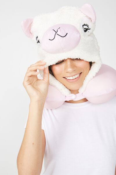 Hooded Travel Neck Pillow, NOVELTY ALPACA
