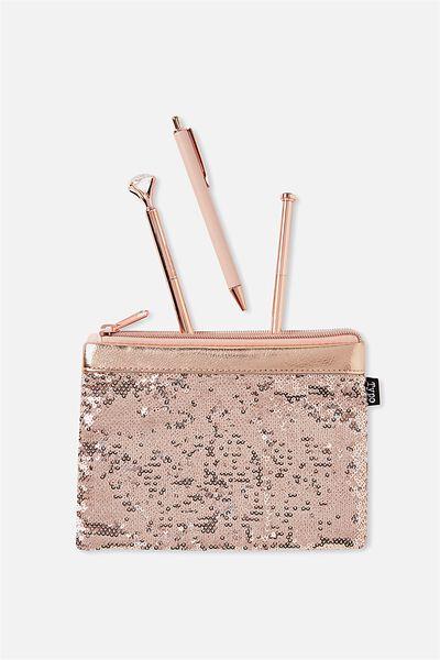 Sequin Band Pencil Case, ROSE GOLD