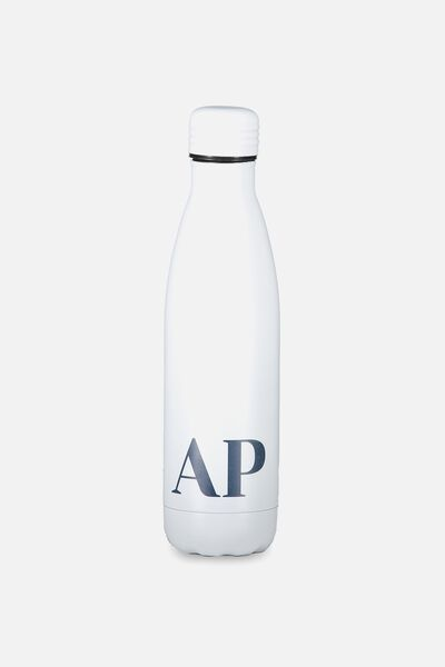 Personalised Metal Drink Bottle, WHITE
