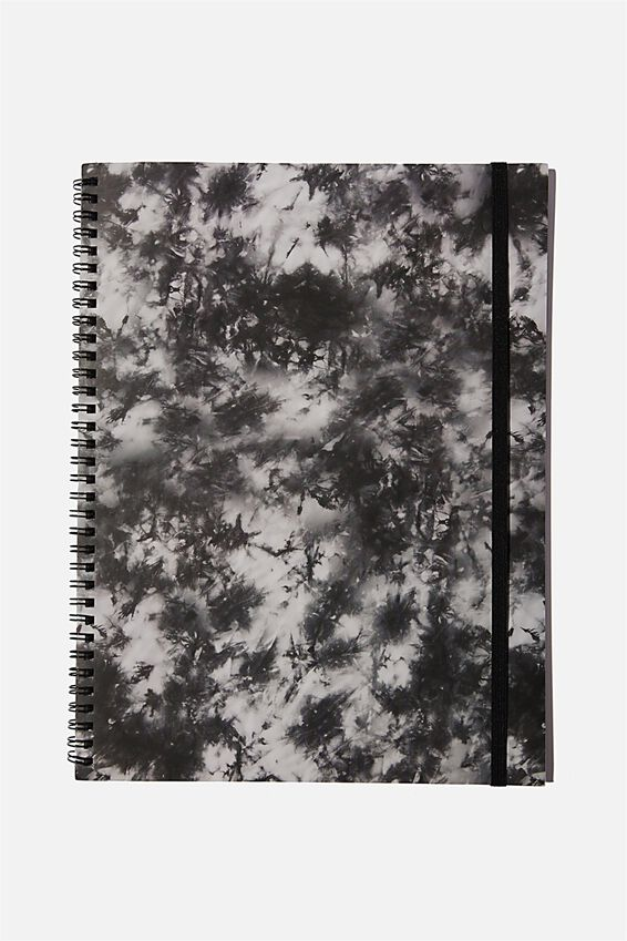 A4 Spinout Notebook Recycled, BW TIE DYE