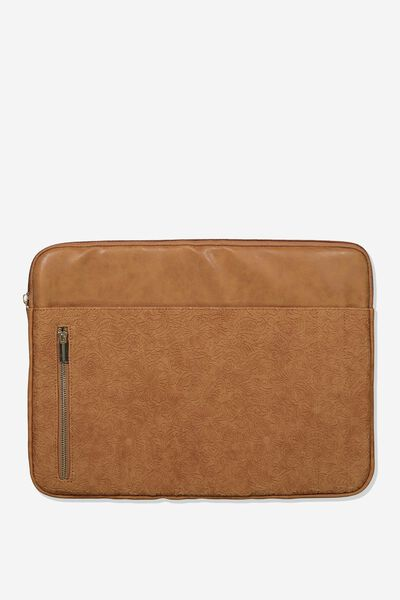 Take Charge 15 Inch Laptop Cover, MID TAN FLORAL TOOLED FLORAL
