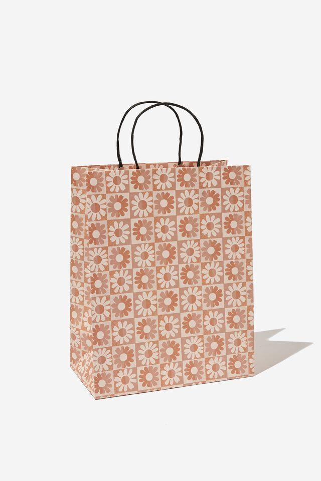 Get Stuffed Gift Bag - Medium, CHECKERBOARD DAISY CLAY