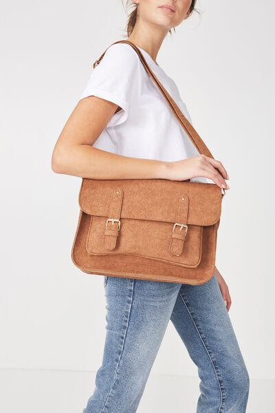 Satchel Bag, SUNFLOWER TOOLED MID TAN