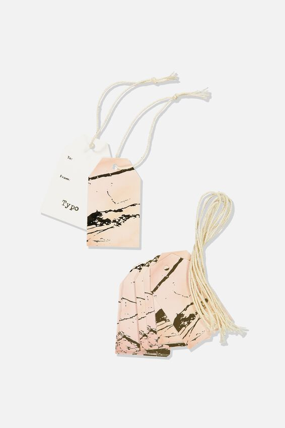 Gift Tags Set 10, MARBLE PINK GOLD