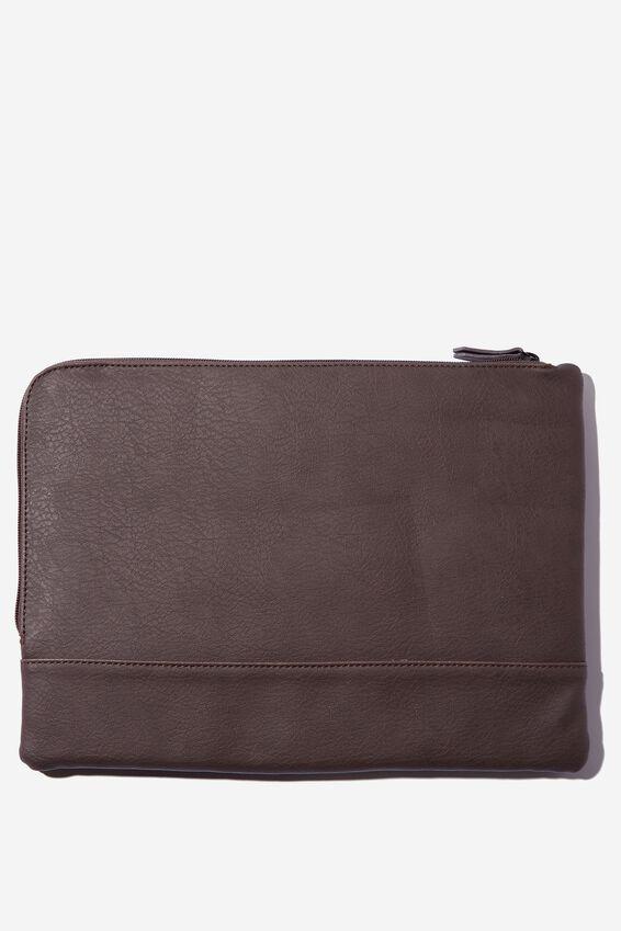 Oxford 13 Inch Laptop Case Canvas PU, BITTER CHOC WITH BROWN & ORANGE CHECK