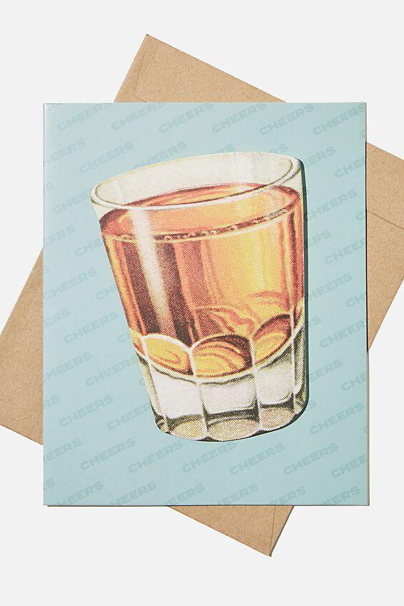 Premium Funny Birthday Card, BOBBLE WHISKEY GLASS!
