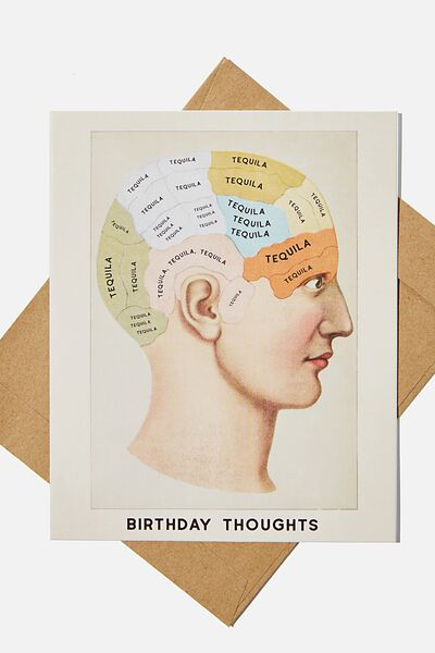 Funny Birthday Card, BIRTHDAY THOUGHTS TEQUILA!