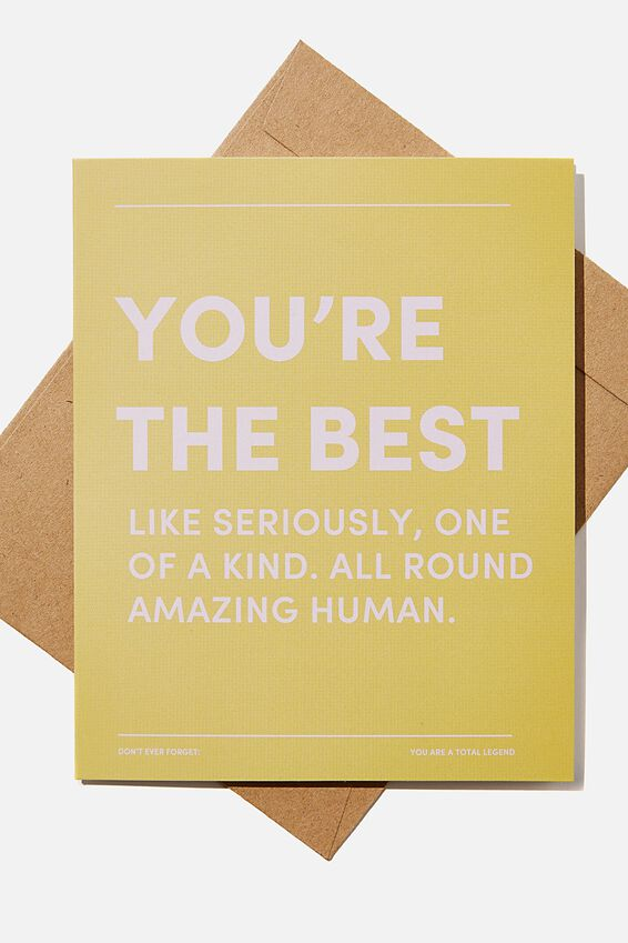 Thank You Card, YOURE THE BEST ONE OF A KIND YELLOW