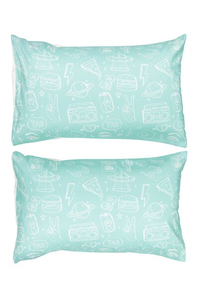 Novelty Pillow Cases Set Of 2, BLUE AND WHITE