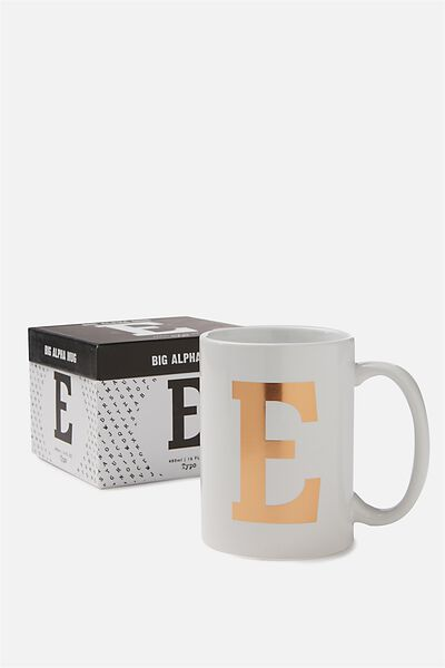 Big Alphabet Mug, ROSE GOLD E