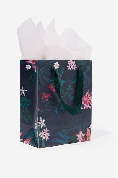 Small Gift Bag with Tissue Paper, KYLIE DARK FLORAL