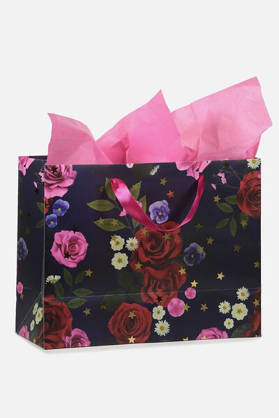 Stuff It Gift Bag Medium With Tissue Paper, NAVY FLORAL