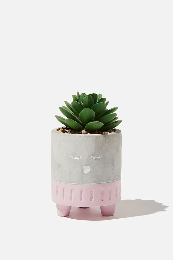 Tiny Planter With Plant, CEMENT & LILAC SLEEPY FACE