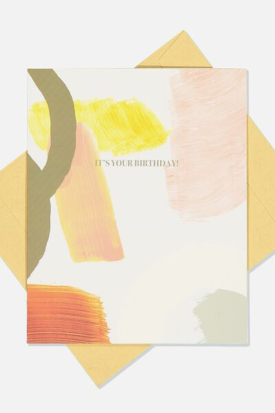 Nice Birthday Card, ABSTRACT PRINT ITS YOUR BIRTHDAY
