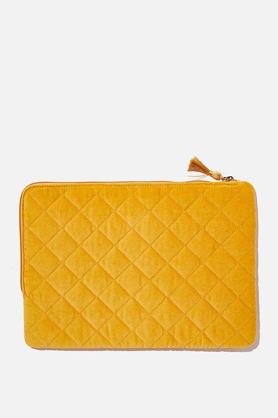 Velvet Oxford 13 Inch Laptop Case, QUILTED MUSTARD