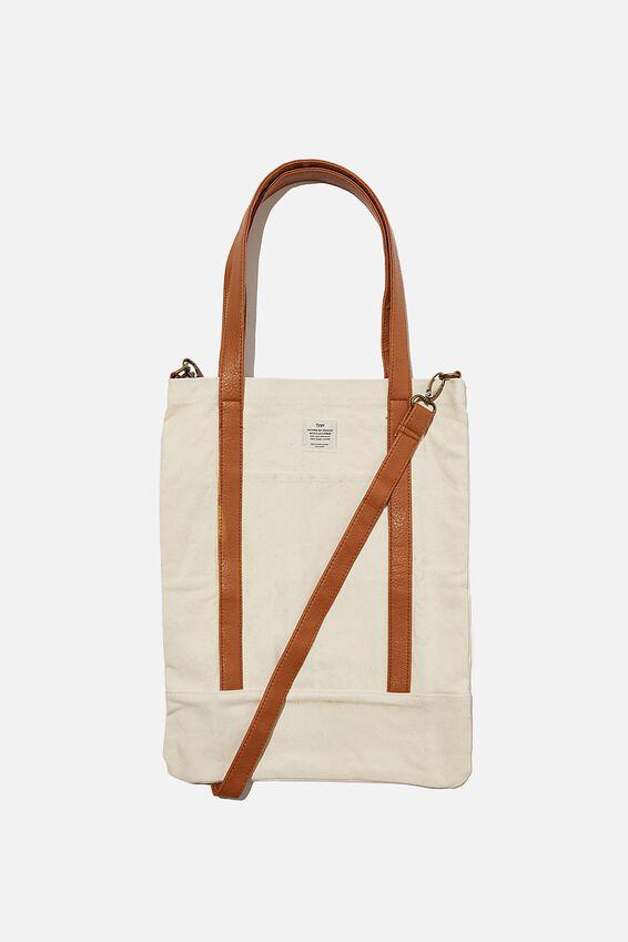Book Tote Bag, NATURL AND MID TAN