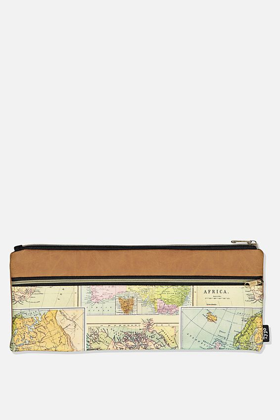 Patti Pencil Case, MAP & MID TAN