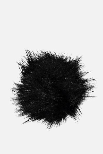 Personalised Pom Pom, BLACK FAUX