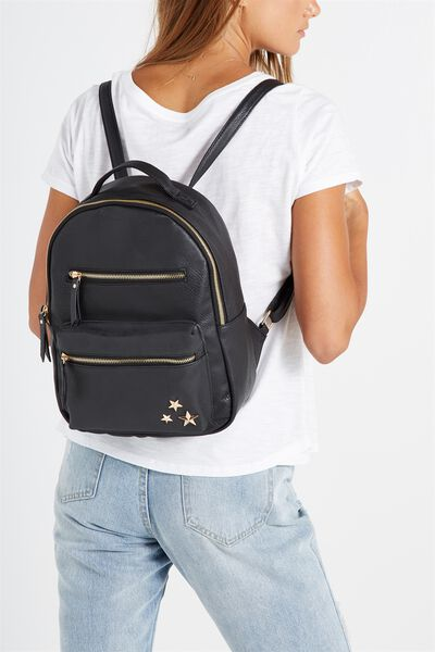 Mini Backpack, BLACK WITH STARS