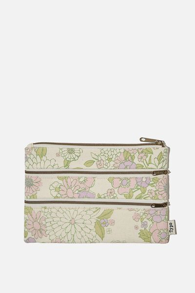 Double Archer Pencil Case, MINT PINK MOLLY FLORAL