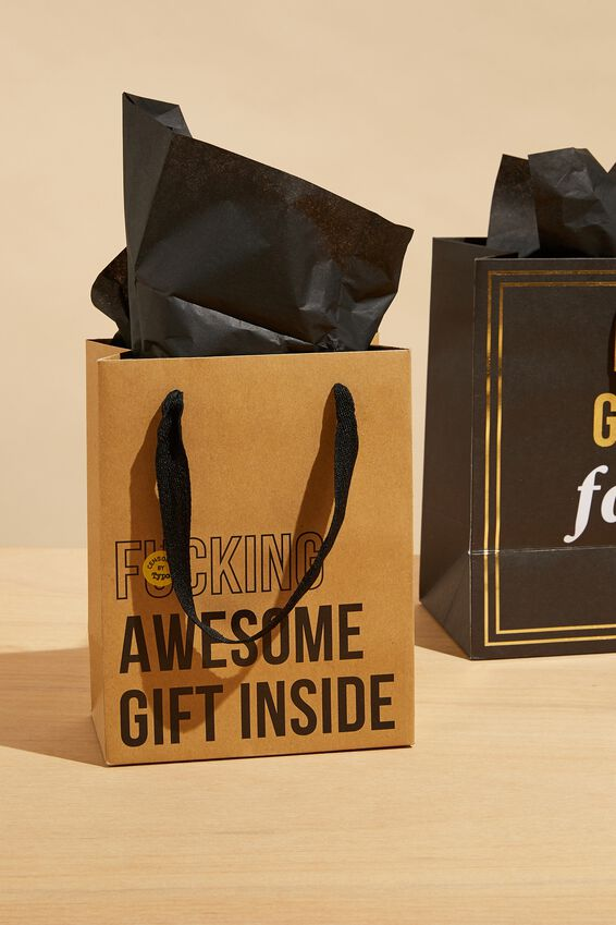 Small Gift Bag with Tissue Paper, F*CKING AWESOME GIFT!!