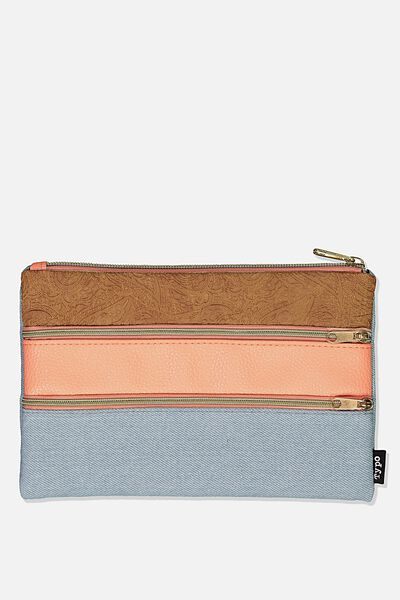 Double Archer Pencil Case, TAN & CHAMBRAY