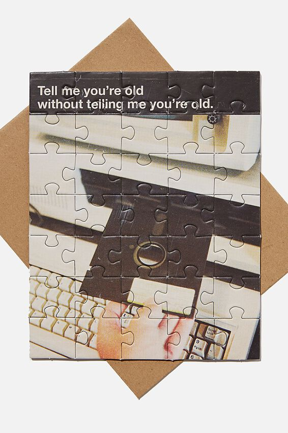 Premium Nice Birthday Card, PUZZLE TELL ME YOUR OLD FLOPPY DISC