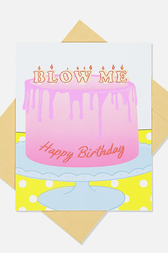 Premium Funny Birthday Card, SCENT BLOW ME CAKE