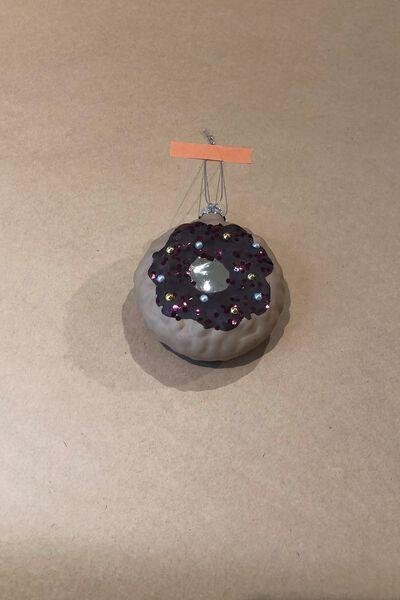 Glass Christmas Ornament, CHOC SPRINKLE DONUT