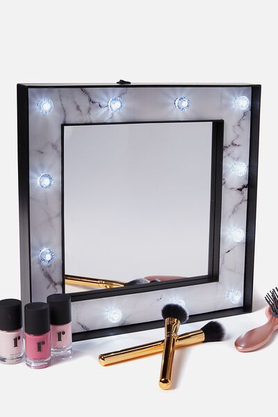 Large Marquee Mirror, MARBLE & BLACK