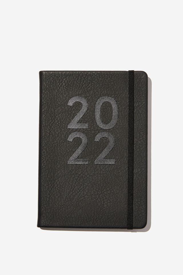 2022 A5 Weekly Buffalo Diary, JET BLACK