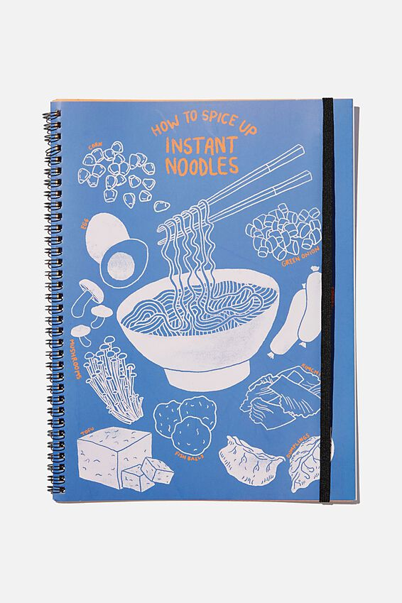 A4 Spinout Notebook Recycled, BLUE INSTANT NOODLES