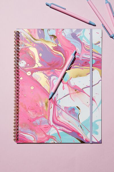A4 Spinout Notebook - 120 Pages, PINK SWIRL MARBLE