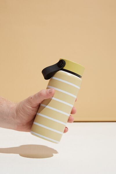 On The Move Metal Drink Bottle 350Ml, WASHED MUSTARD 70S STRIPE