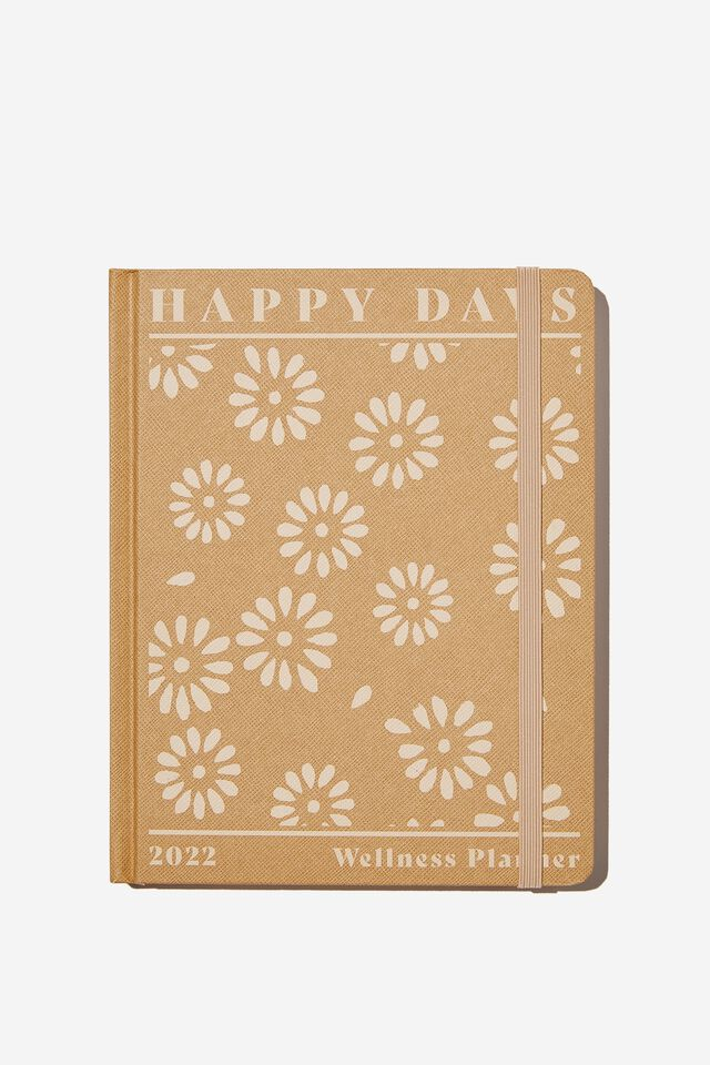 2022 Small Weekly Wellness Planner, STAMPED DAISY DRIFTWOOD