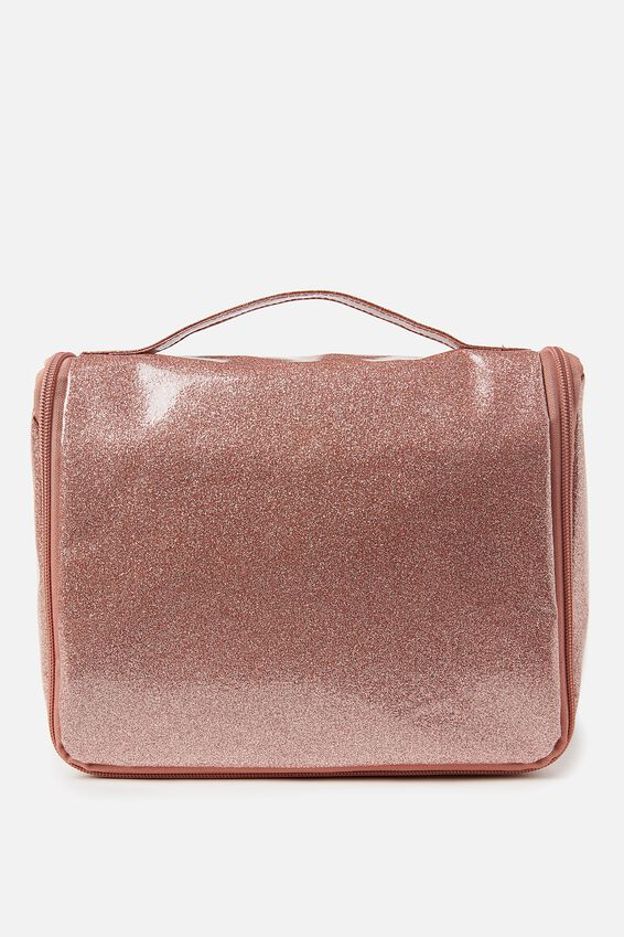 Hanging Cosmetic Bag, ROSE GOLD SPARKLE