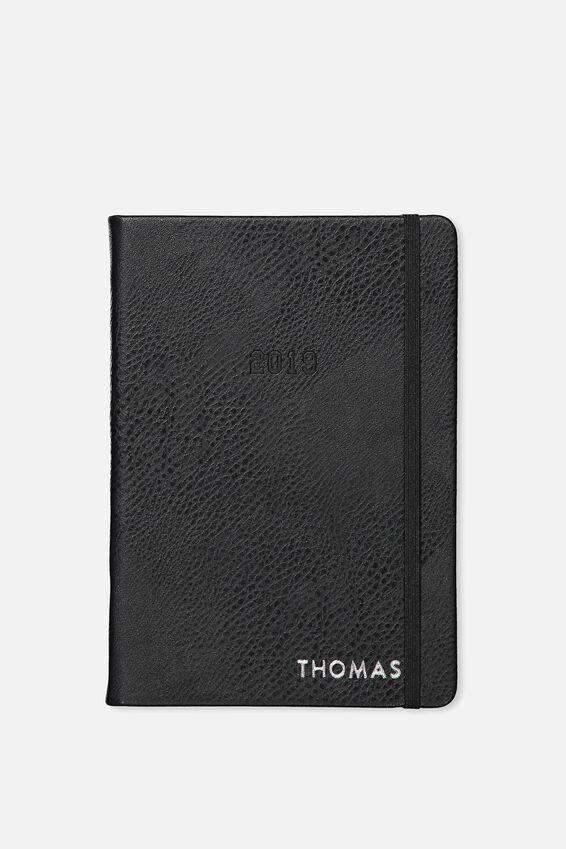 Personalised 2019 A5 Daily Buffalo Diary, BLACK